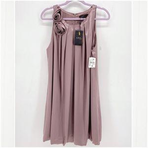 ABS Allen Schwartz Pink Satin Bubble Hem Dress